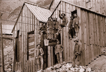 9 Miners on a line 1907 Alta Lakes
